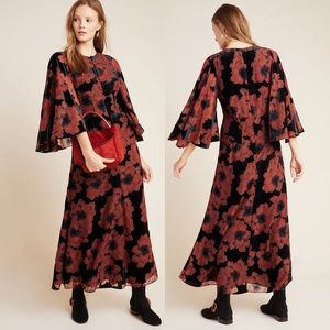 Anthropologie Margie Flocked Velvet Floral Dress 2